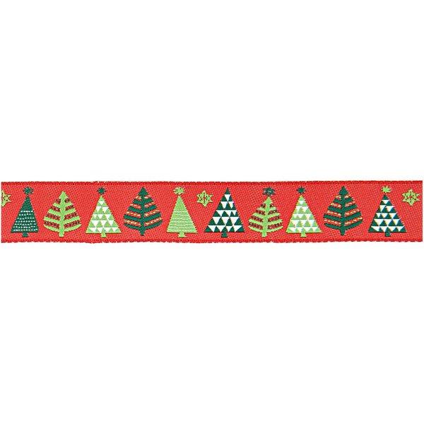 Rico Design Webband Weihnachtsbäume rot 1,6cm