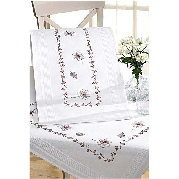 Rico Design Stickpackung Decke Blütenranke 80x80cm