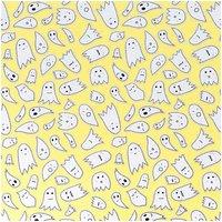 Rico Design Stoff Jersey gelb Geister silber 145cm