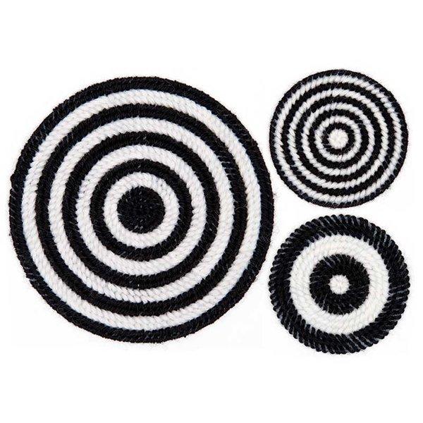 Rico Design Stickpackung Untersetzer schwarz-weiß 3er Set
