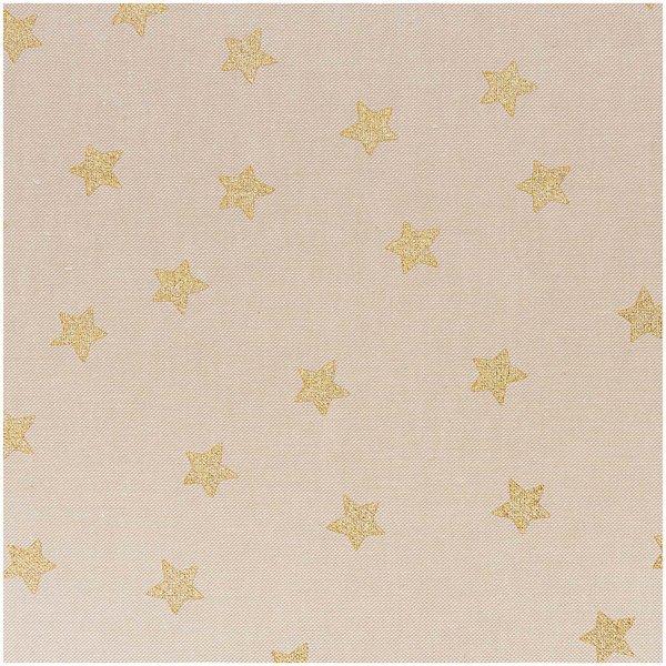 Rico Design Stoff Sterne natur-gold 50x140cm