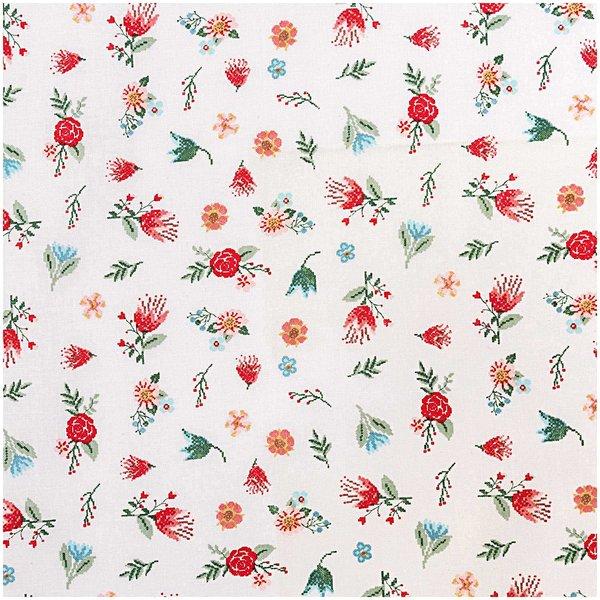Rico Design Stoff Streublumen weiß-mehrfarbig 140cm