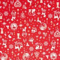 Rico Design Stoff Weihnachten rot 50x112cm