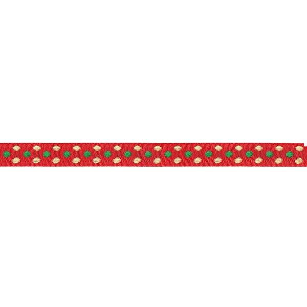 Rico Design Ribbon rot Punkte grün-gold 2m