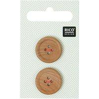 Rico Design Holzknopf 2cm 2 Stück mit Rand