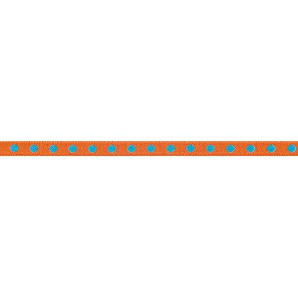 Rico Design Ribbon gewebte Punkte orange-türkis 2m