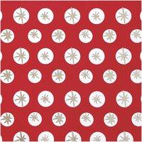Rico Design Druckstoff Schneeflocken rot-gold 140cm