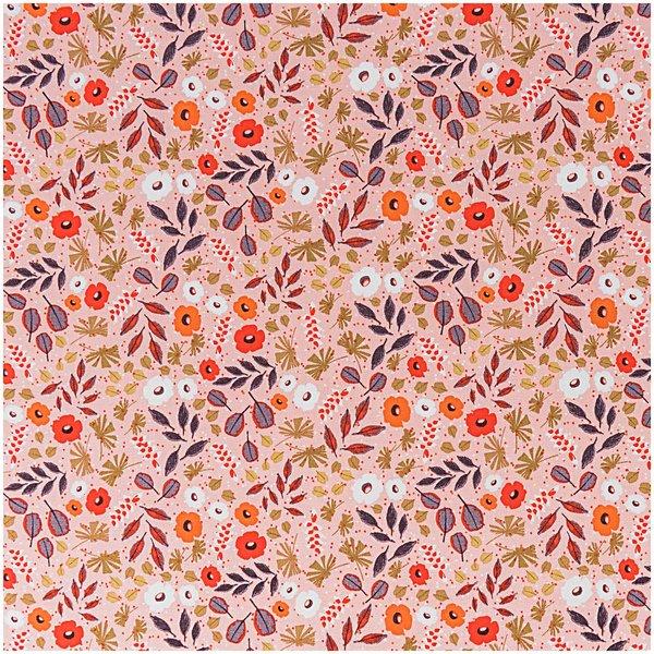 Rico Design Stoff Blumen und Blätter apricot 140cm