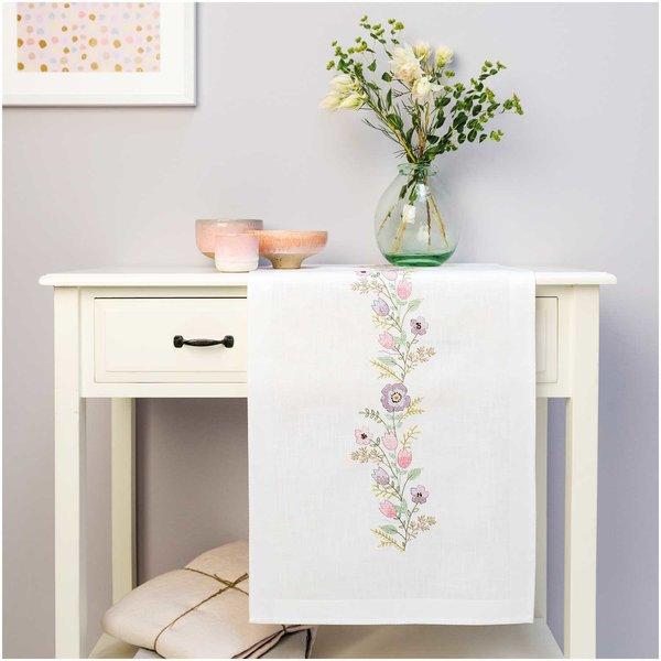 Rico Design Stickpackung Läufer Blütenkranz 45x100cm