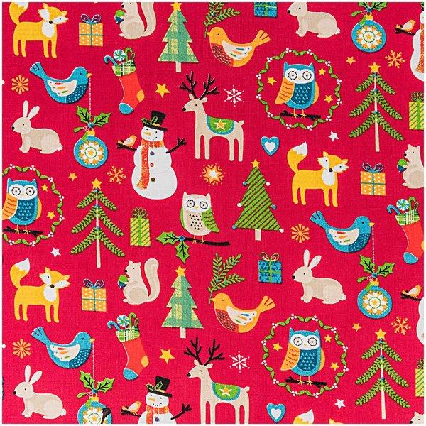 Rico Design Stoff Weihnachten Tiermotive rot 50x160cm
