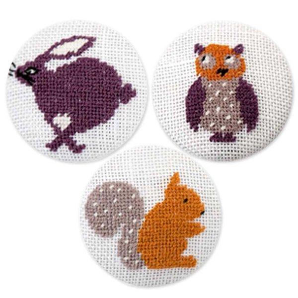 Rico Design Stickpackung Knöpfe Eule-Eichhörnchen-Hase
