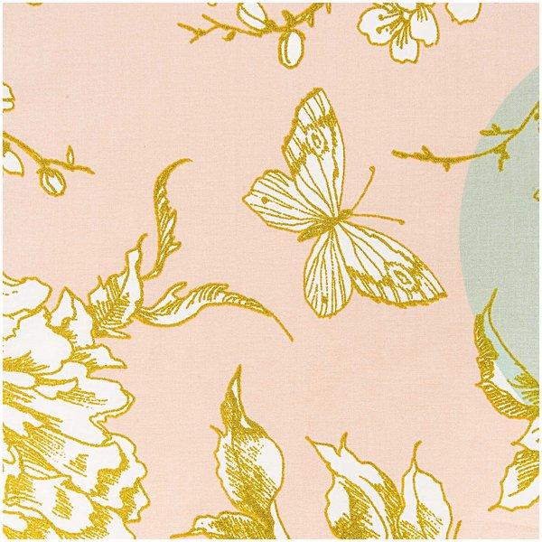 Rico Design Stoff Kirschblüte puder-mint-gold 50x140cm beschichtet