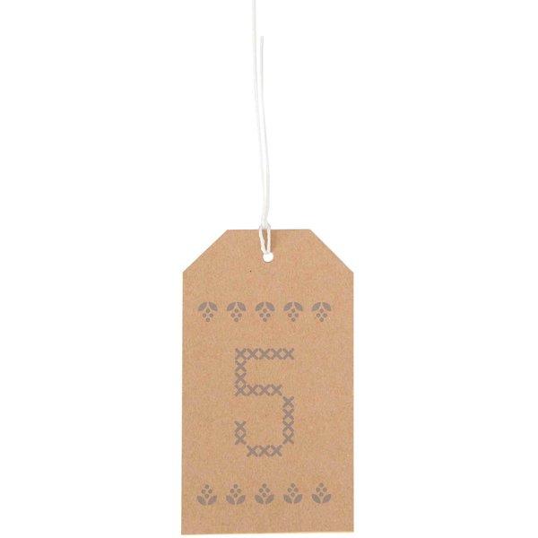 Paper Poetry Adventskalender Anhänger 24 Stück Kraftpapier