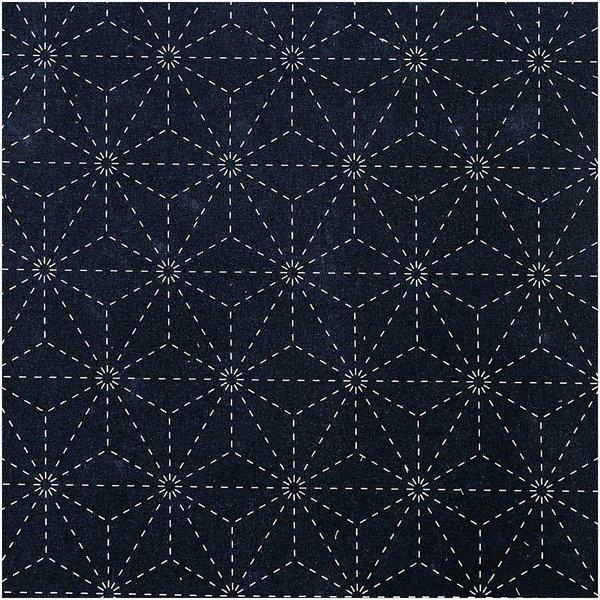 Rico Design Druckstoff Jardin Japonais Sterne dunkelblau-creme 140cm