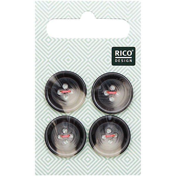 Rico Design Knopf grau 1,7cm strukturiert