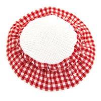 Rico Design Marmeladendeckchen rot-weiß zum Besticken 8cm