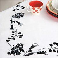 Rico Design Stickpackung Decke schwarze Blüten 90x90cm
