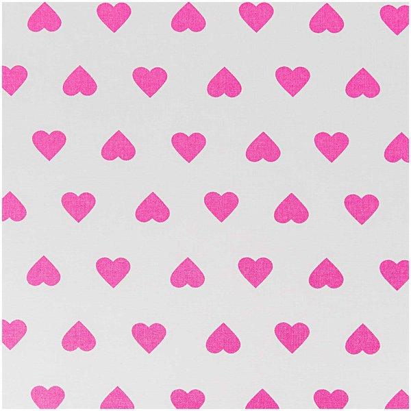 Rico Design Stoff weiß-pinke Herzen 160cm