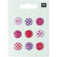 Rico Design Knopf Mix Vichy-Punkte pink-violett 1,4cm 9 Stück