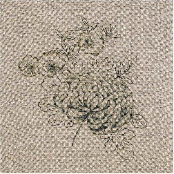 Rico Design Leinenband Chrysanthemen natur 30cm