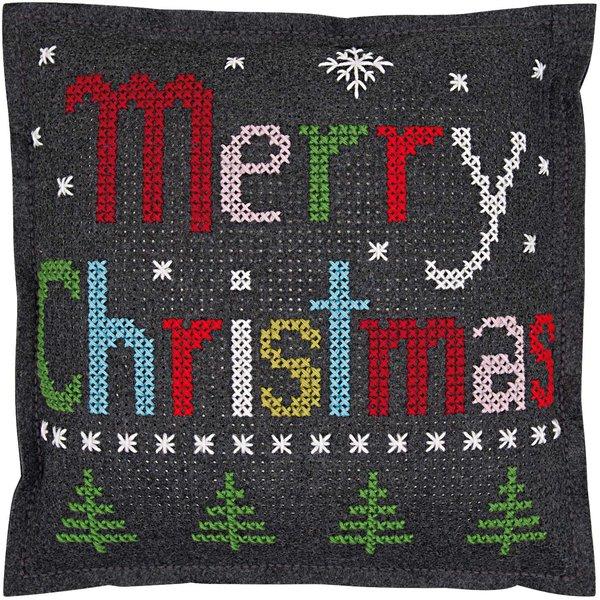 Rico Design Filzkissen zum Besticken Merry Christmas 42x42cm