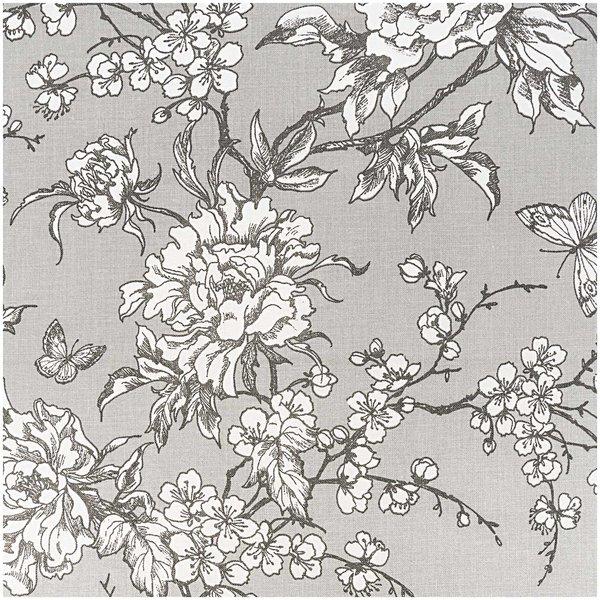 Rico Design Stoff Kirschblüten grau-weiß 140cm