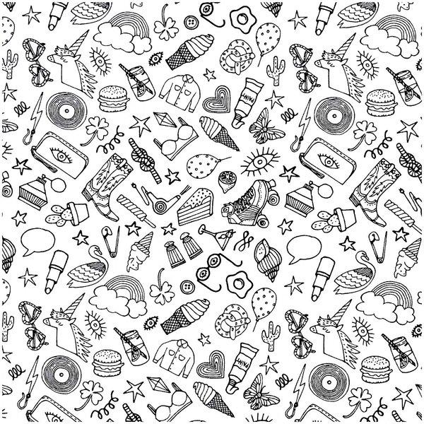 Rico Design Stoff Icons weiß-schwarz 50x140cm