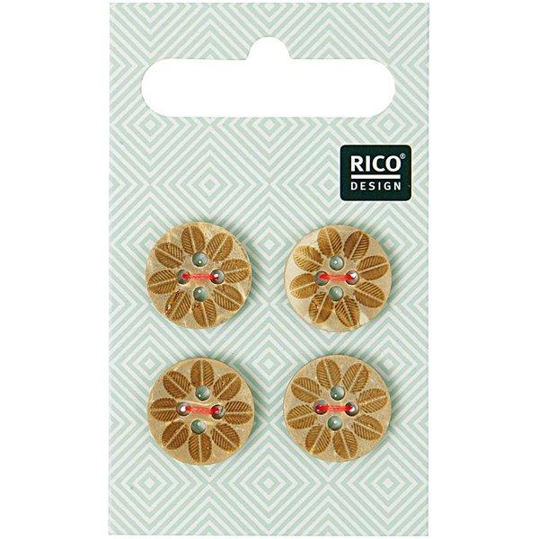 Rico Design Holzknöpfe mit Blüte 1,6cm 4 Stück