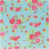 Rico Design Stoff Blumen türkis-rosa 50x160cm