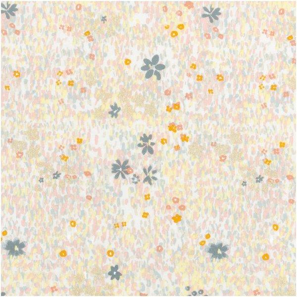 Rico Design Druckstoff Crafted Nature Blumenwiese grau metallic 50x140cm