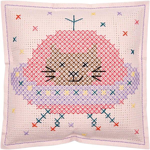 Rico Design Filzkissen zum Besticken Katze im Weltall 42x42cm
