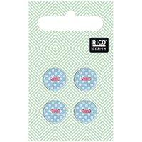 Rico Design Knöpfe hellblau gepunktet 1,2cm 4 Stück