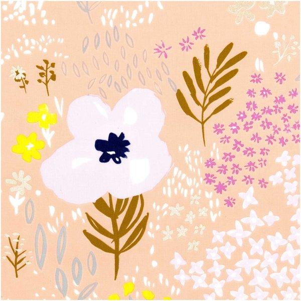 Rico Design Druckstoff Crafted Nature Blumen orange metallic 140cm