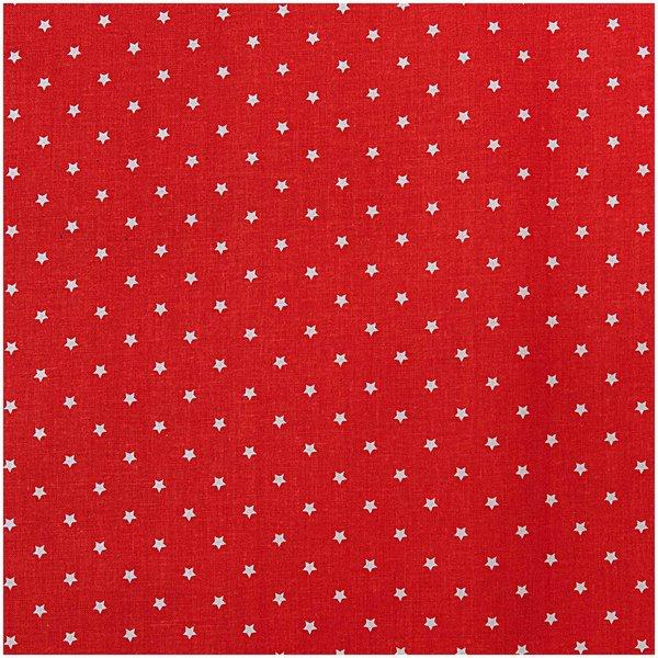 Rico Design Stoff Sterne weiß-rot 50x140cm