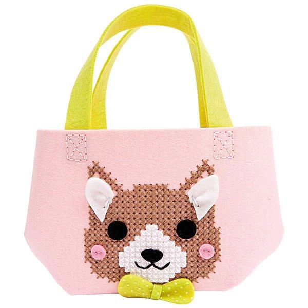 Rico Design Bastelset Kindertasche Hund rosa 16,5x16x11cm