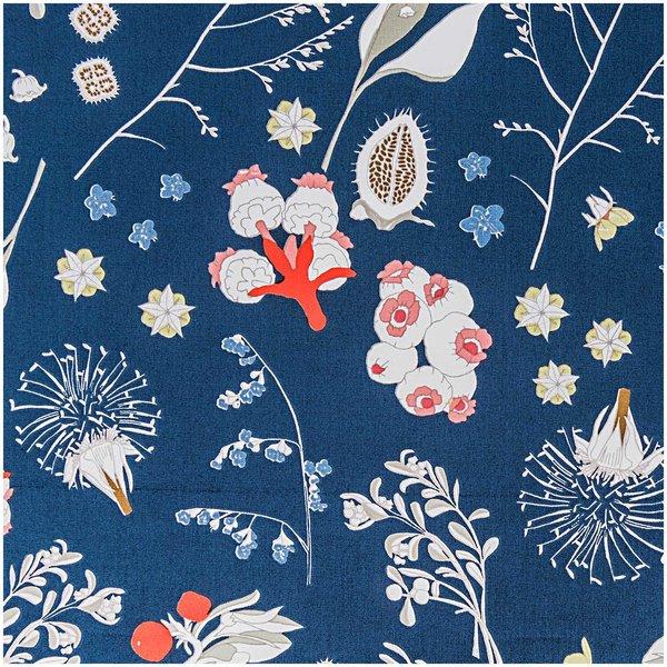Rico Design Stoff Blumen und Gräser blau 140cm