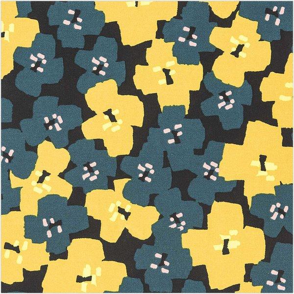 Rico Design Druckstoff Okina Hana Blumen schwarz-grün 50x140cm