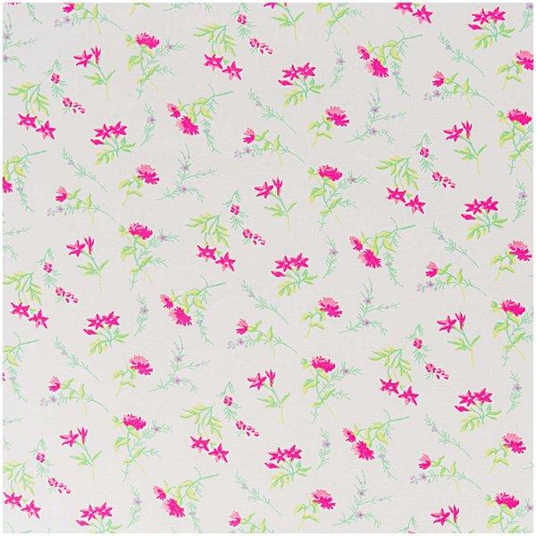 Rico Design Stoff Blumen weiß-rosa 160cm