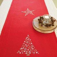 Rico Design Stickpackung Läufer rot Tanne und Stern 45x140cm