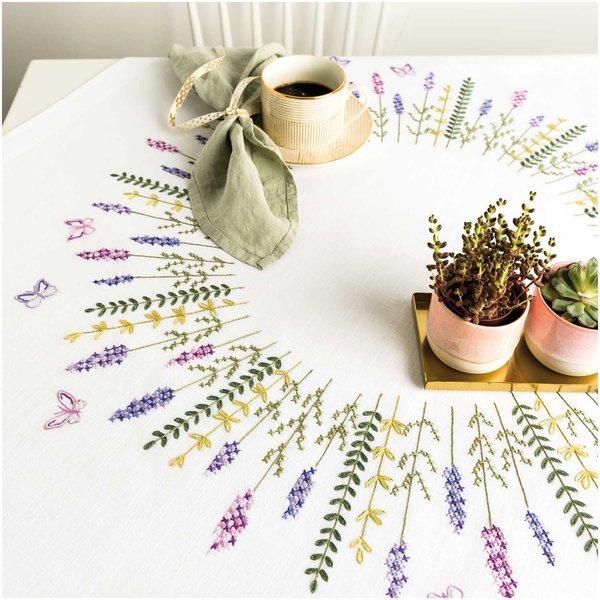 Rico Design Stickpackung Decke Lavendelkranz 90x90cm