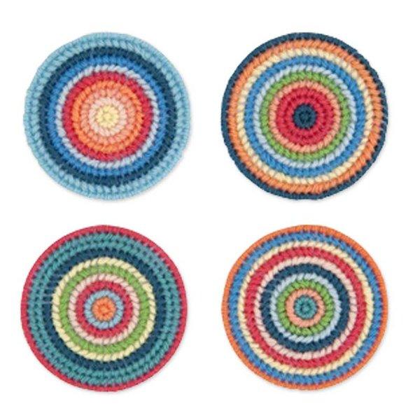Rico Design Stickpackung Untersetzer mehrfarbig 7,8cm 4 Stück
