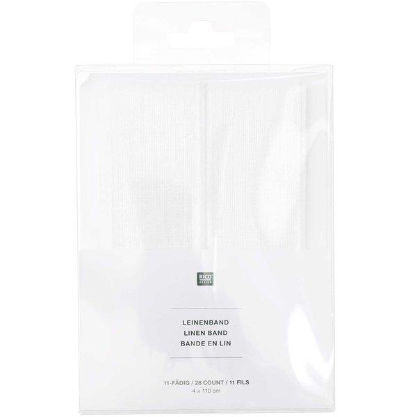 Rico Design Leinenband weiß 4x110cm zum Besticken 2 Stück