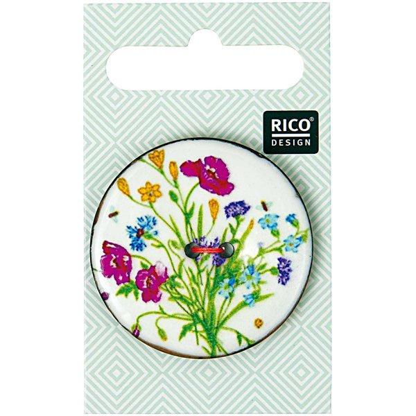 Rico Design Knopf floral weiß 4cm