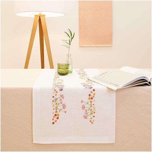 Rico Design Stickpackung Läufer Herbstblumen 45x100cm