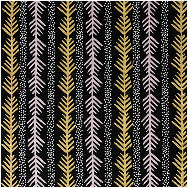 Rico Design Stoff grafische Tanne schwarz-gold 50x140cm