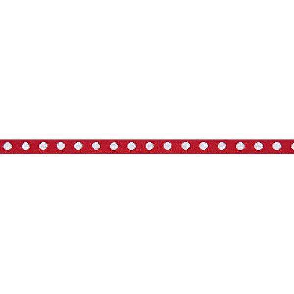Rico Design Ribbon gewebte Punkte rot-weiß 2m