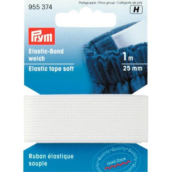 Prym Elastic Band Gummi weich weiß 25mm 1m