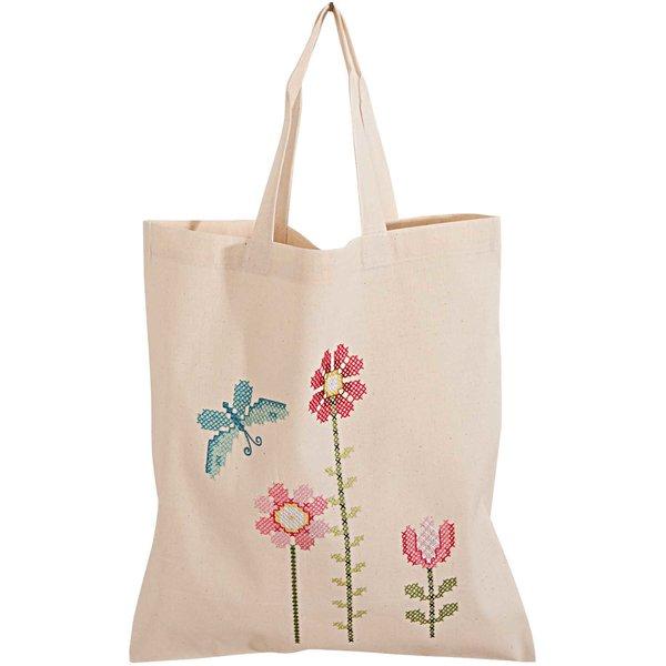 Rico Design Stickpackung Tasche Blüten 38x45cm