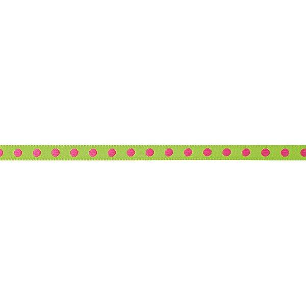 Rico Design Ribbon gewebte Punkte grün-pink 2m