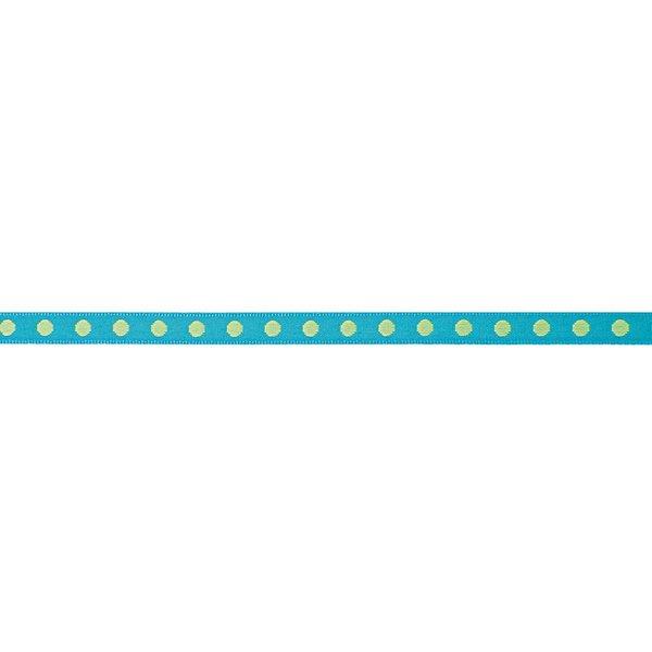 Rico Design Ribbon gewebte Punkte türkis-grün 2m